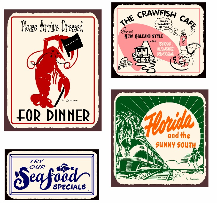 vintage beach and seafood signs