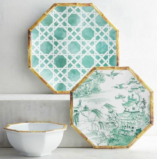 chinoiserie melamine plates
