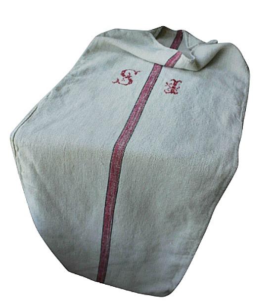 Grain Sack Red Black Stripe Hemp Fabric Grainsack Si Monogram Soft Washed Linen