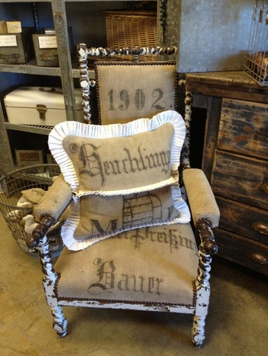 grain sack upholstered chair