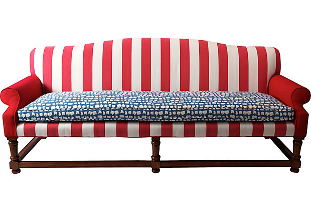 red white and blue sofa