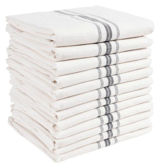 White & Gray Farmhouse Stripe Kitchen Towel Set of 12
