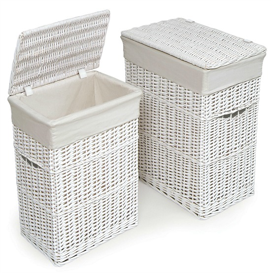 Badger Basket Wicker Two Hamper Set with Liners - White
