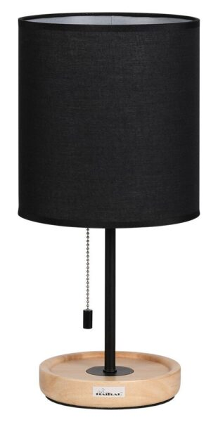 HAITRAL Contemporary Desk Lamp with Wooden Base, Black Fabric Shade