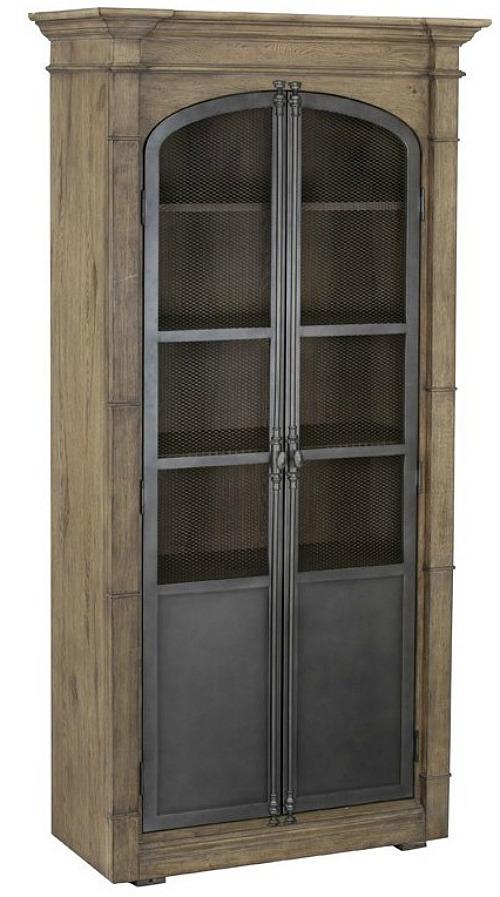 Homefare Metal Door Light Oak Display Cabinet