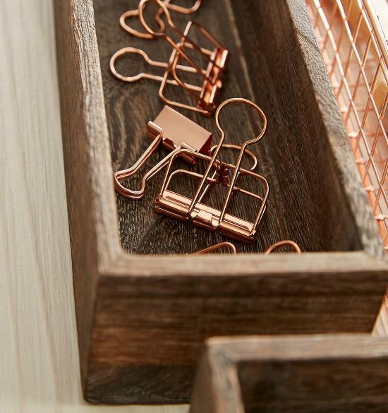 Rose Gold Wire Binder Clips Pkg/6