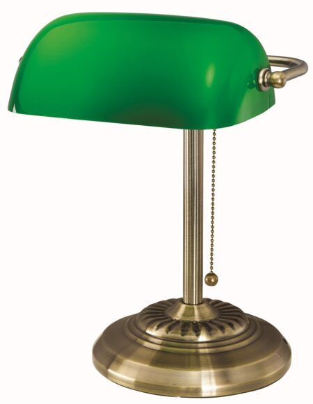 V-LIGHT Classic Style CFL Banker's Desk Lamp with Green Glass Shade, Antique Bronze Finish