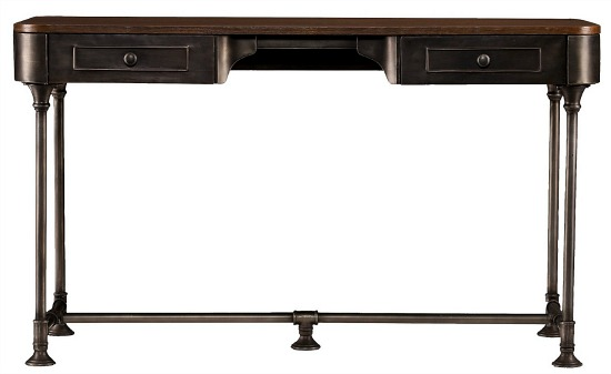 Southern Enterprises Elmore 2 Drawer Wood/Metal Writing Desk