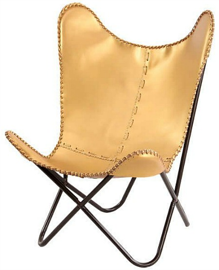 Gold+Leather+Butterfly+Lounge+Chair