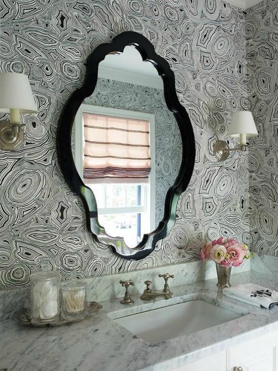 black-white-cole-and-son-malachite-wallpaper-octagon-wall-sconce-bathroom