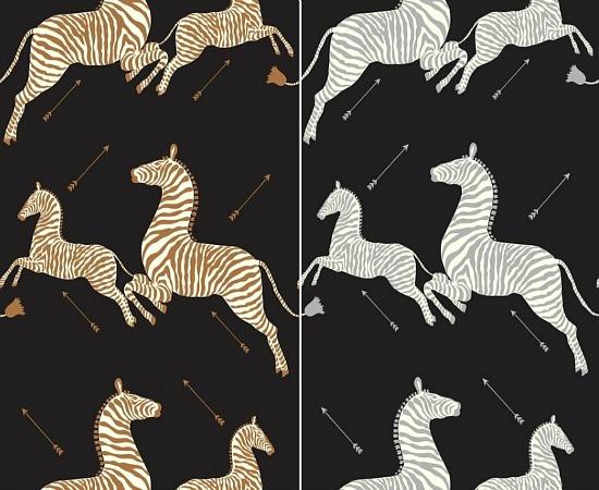 Zebras Wallpaper, Black & Silver