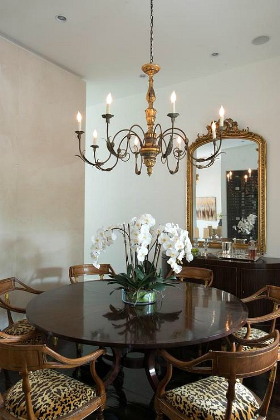 french-candle-chandelier-leopard-print-dining-chairs-curved-buffet-cabinet