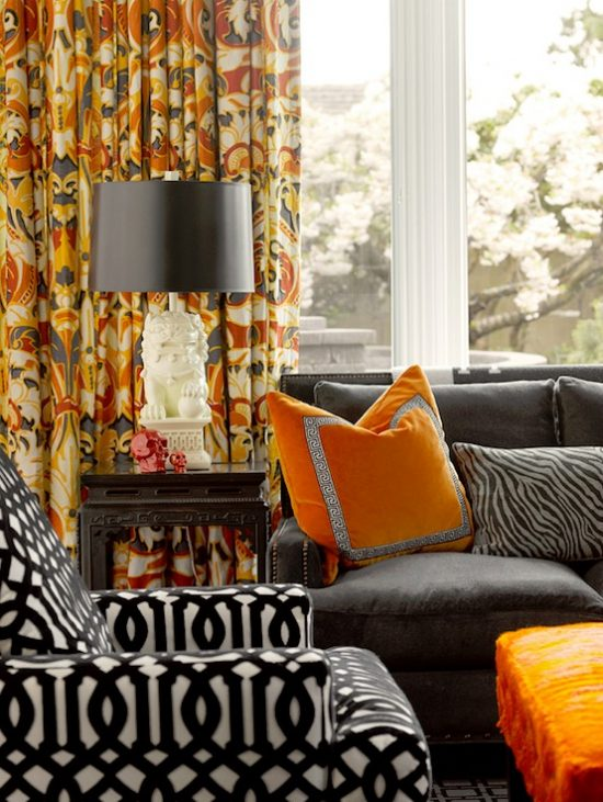 orange and black living room