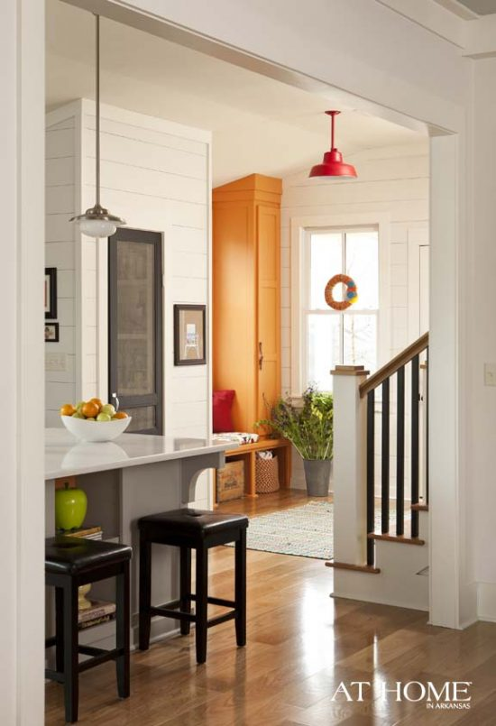 orange and black kitchen