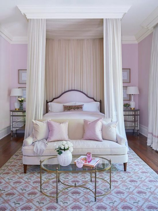 pink-arch-headboard-bed-canopy-sheer-curtains