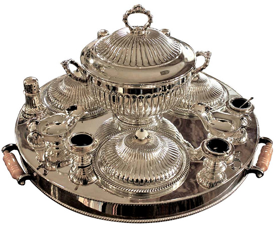 Large Antique Sheffield England Silver Plated Lazy Susan Server or Centerpiece