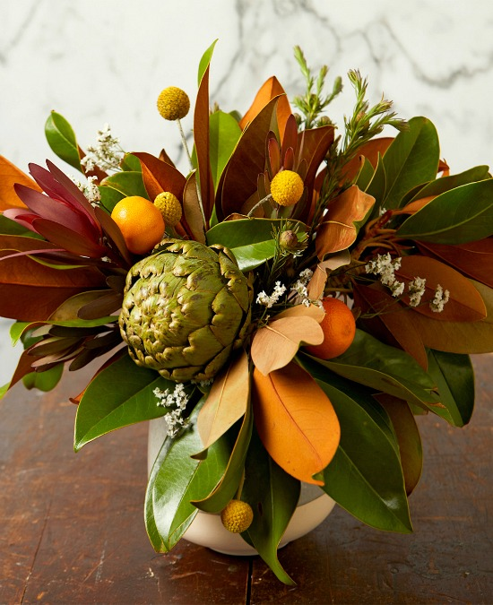 autumn-bouquet-artichoke-magnolia-