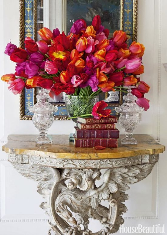 foyer flowers bold colors