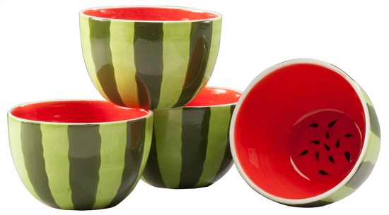 Set of 4 Ceramic Watermelon Bowls