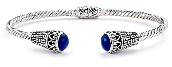 Sterling Silver Twisted Lapis Bangle Bracelet