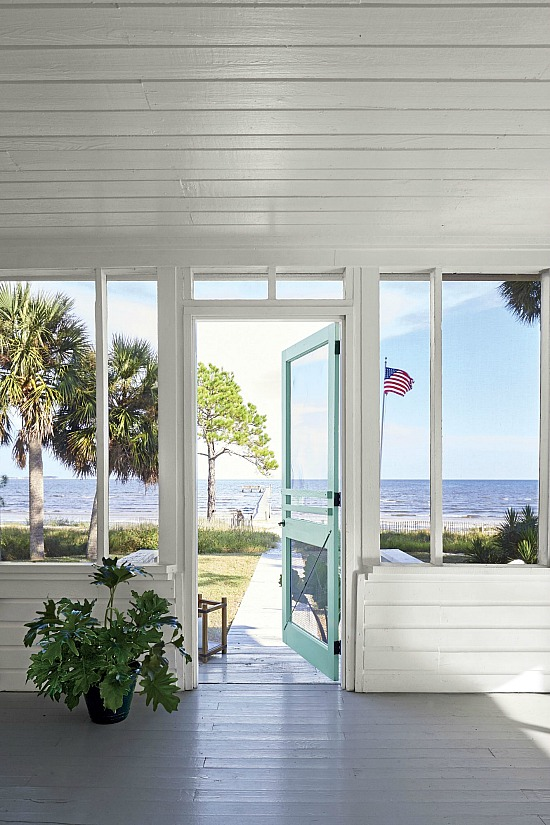 screened porch by ocean