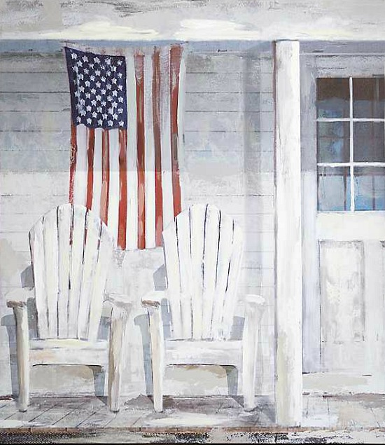 Porch Flag Canvas Art Print