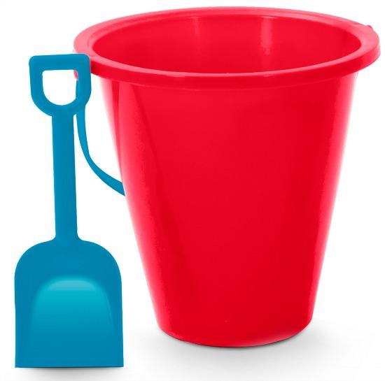 red beach pail blue shovel