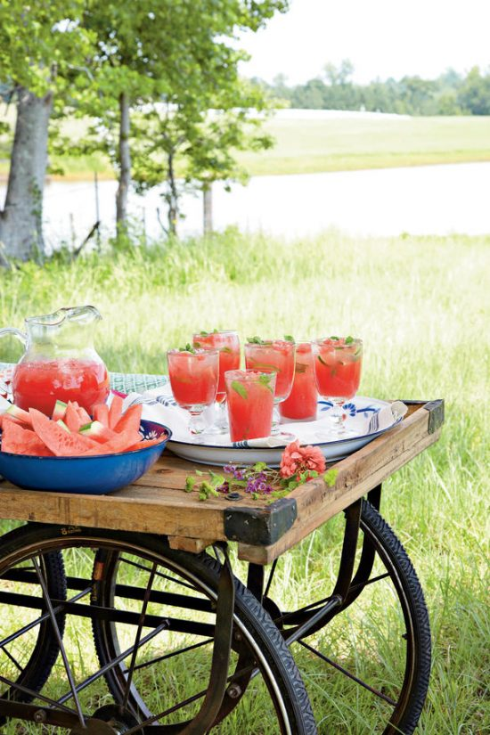 SELA WARD PROPERTY IN JACKSON MS, 2011. PHOTOGRAPHED BY CHRIS M. ROGERS; PROP STYLING: LYDIA DEGARIS PURSELL; FOOD STYLING: NORMAN KING. SCAVENGER HUNT. IT'S ALL GOOD BARN.WATERMELON DRINK