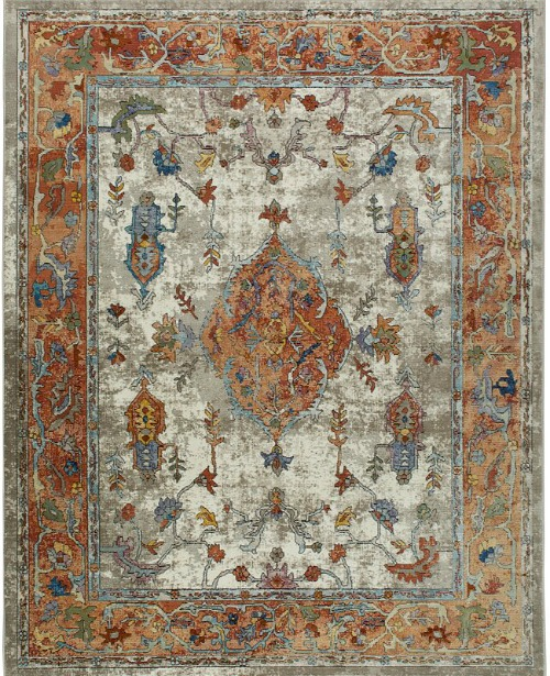 Parlin Royalty Ivory Rust Area Rug