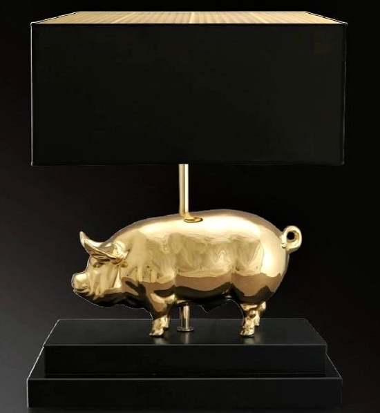 24 carat gold or platinum 'lucky pig' table light with black