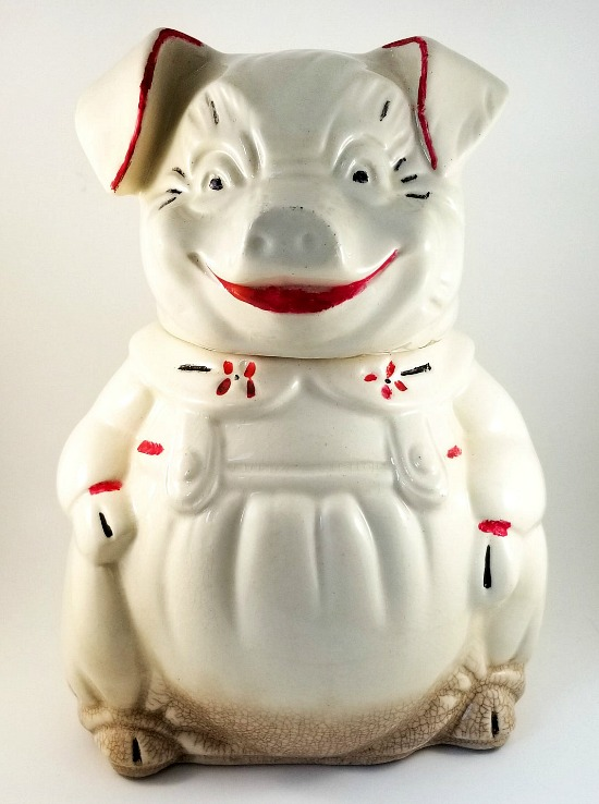 American Bisque Cookie/Biscuit Jar Happy Smiling Pig