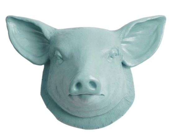 Faux Resin Pig Head Wall Mount, Powder