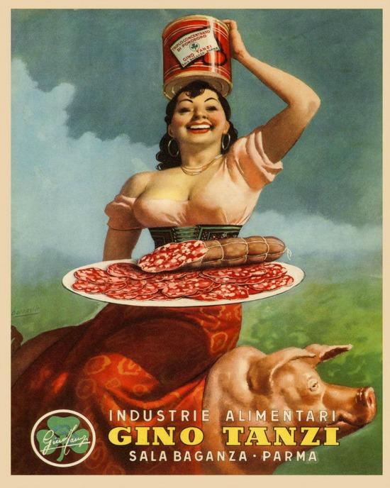 Lady Pig Pork Leg Prosciutto di Parma Gino Tanzi Food Italy Italia Vintage Poster
