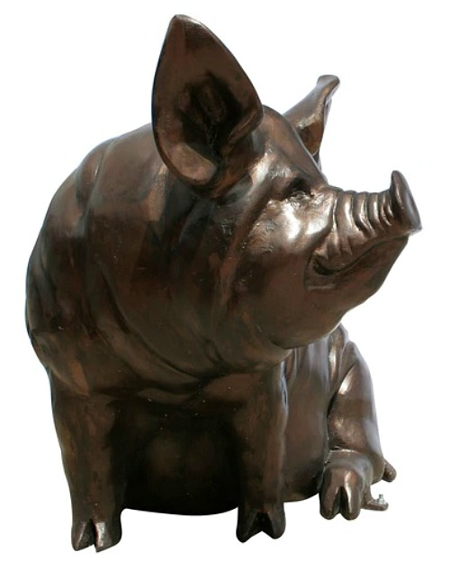 Large Sitting Sow Pig Metal Garden Statue Bronze Color Recycled Aluminum Art