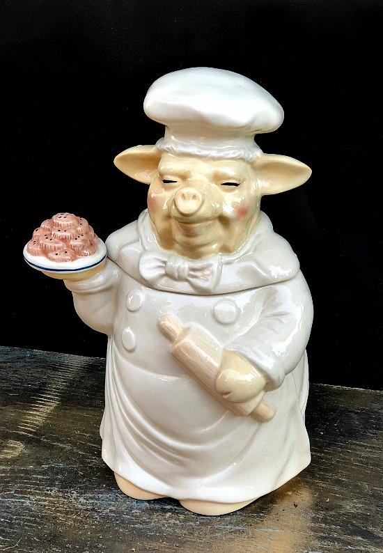 Pig cookie jar porcelain
