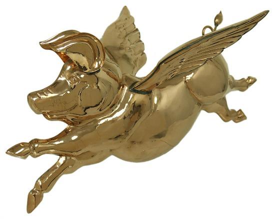 Polished Copper Hanging 3D Flying Pig Sculpture