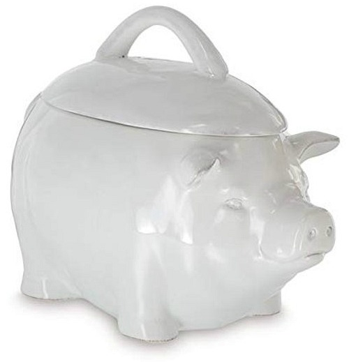 Solid White Ceramic Pig Shaped Cookie Jar