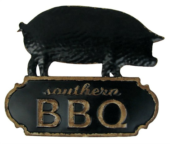 Southern BBQ Pig Metal Wall Sign