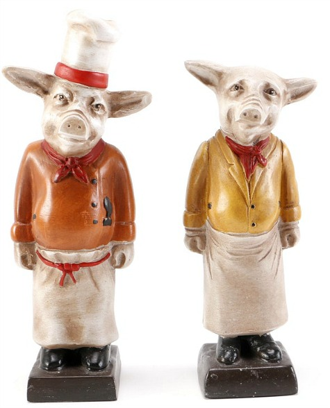 Sterling Pair Chef Pig Bookends