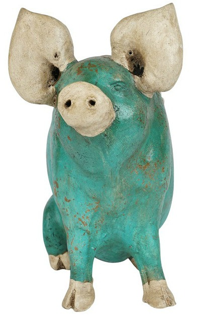 Wilber the Pig Handmade Planter, Turquoise