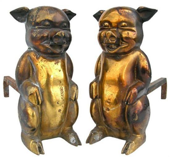antique-brass-pig-andirons