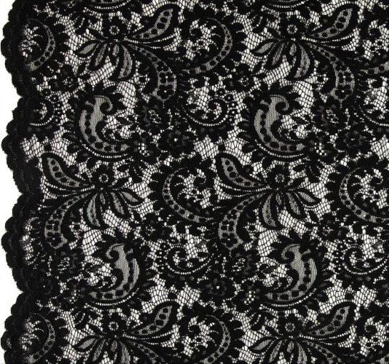 Telio Amelia Lace Black Fabric
