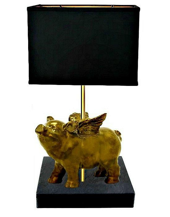gold pig lamp on black base1
