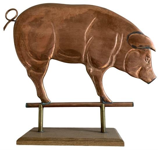 Rustic Copper Pig Sculpture