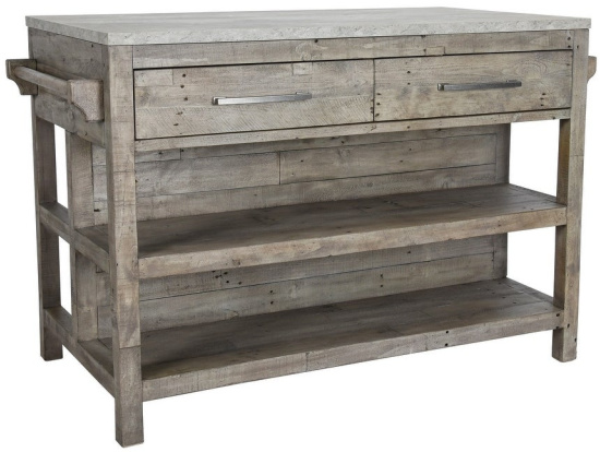 2-Drawer-Reclaimed-Wood-Kitchen-Island-with-Concrete-Top,-Gray