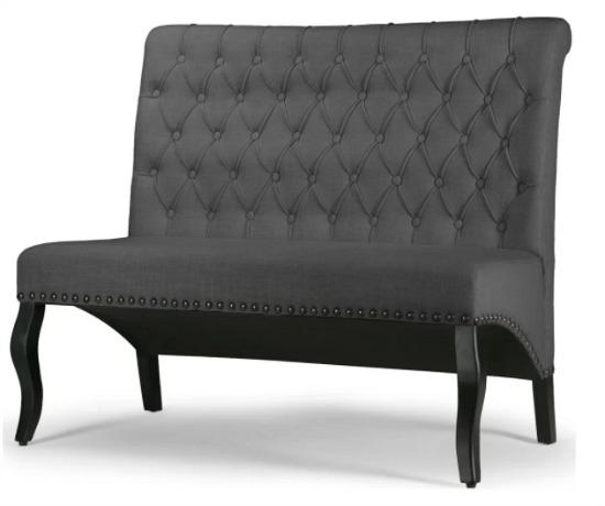 Alisa Grey Upholstered Settee Bench Loveseat