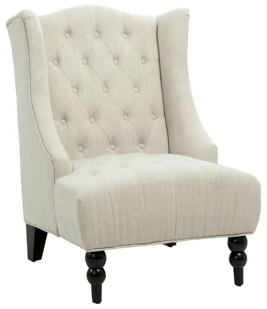 Toddman Light Beige Fabric High Back Accent Chair