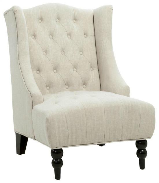 Toddman Light Beige Fabric High Back Accent Chair