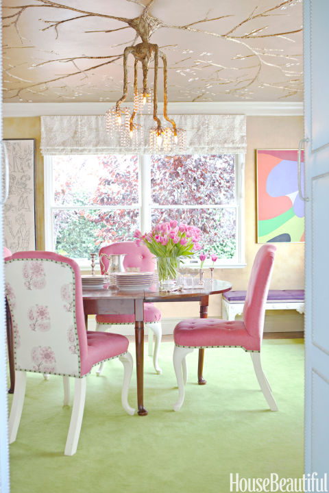 pink-green-dining-room