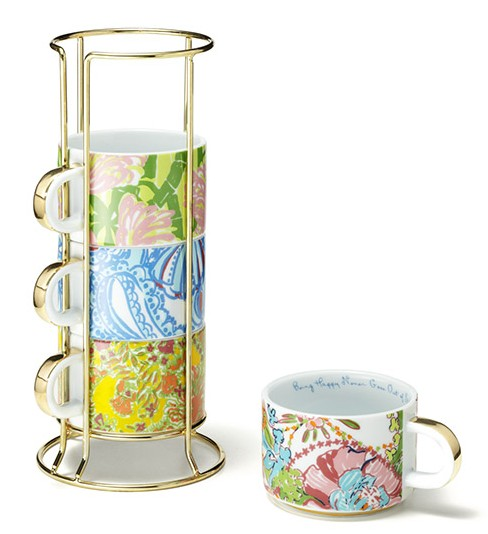 Lilly-Pulitzer-target-ceramic-mugs-with-gold-caddy---set-of-4